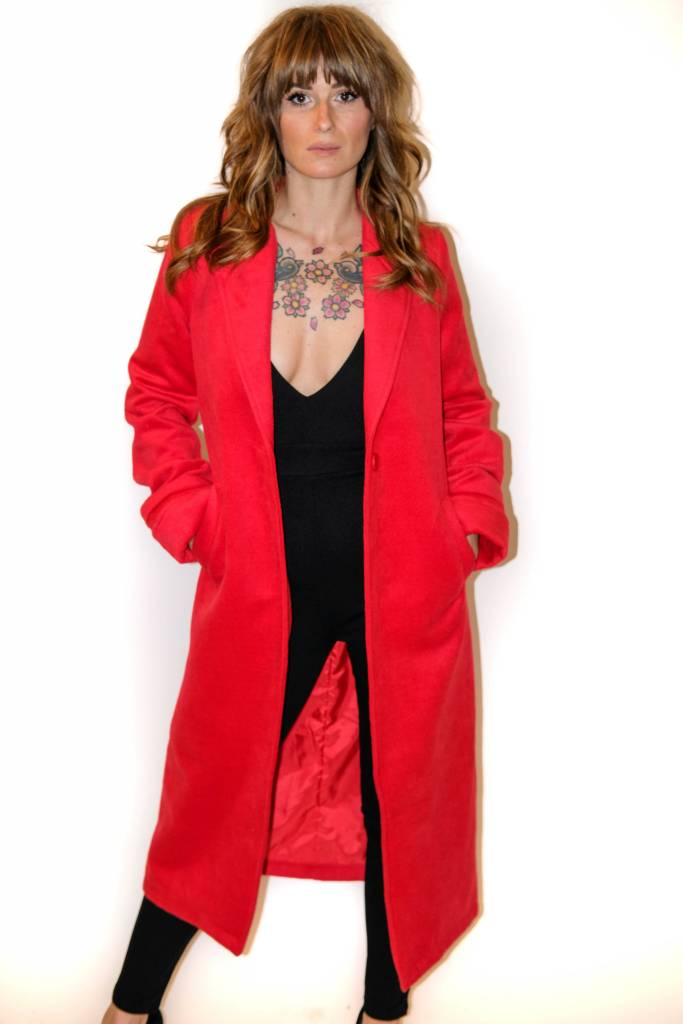 CR - Emory Park -  Candy Red Wool Trench Jacket