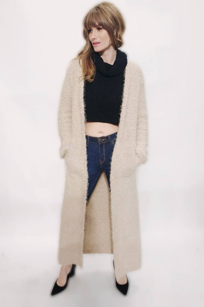 DA85- Lovestitch -L/S Fuzzy Duster Cardigain
