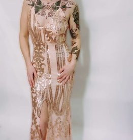 DA70 - Trac -Champagne Sequinned Gown w/Slit