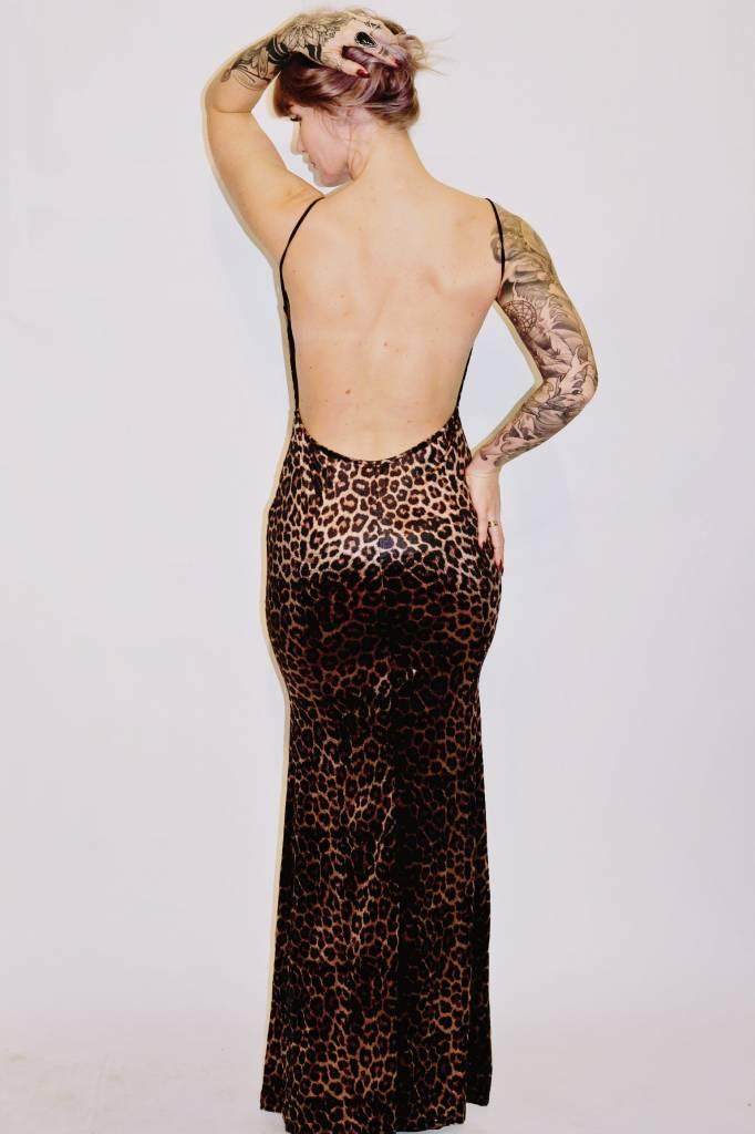 DA62 - Symphony - Velvet Leopard Gown w/Open Back