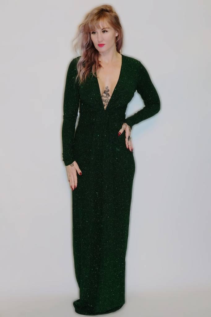 DA60 - Symphony - L/S Sparkle Knotted Front Gown