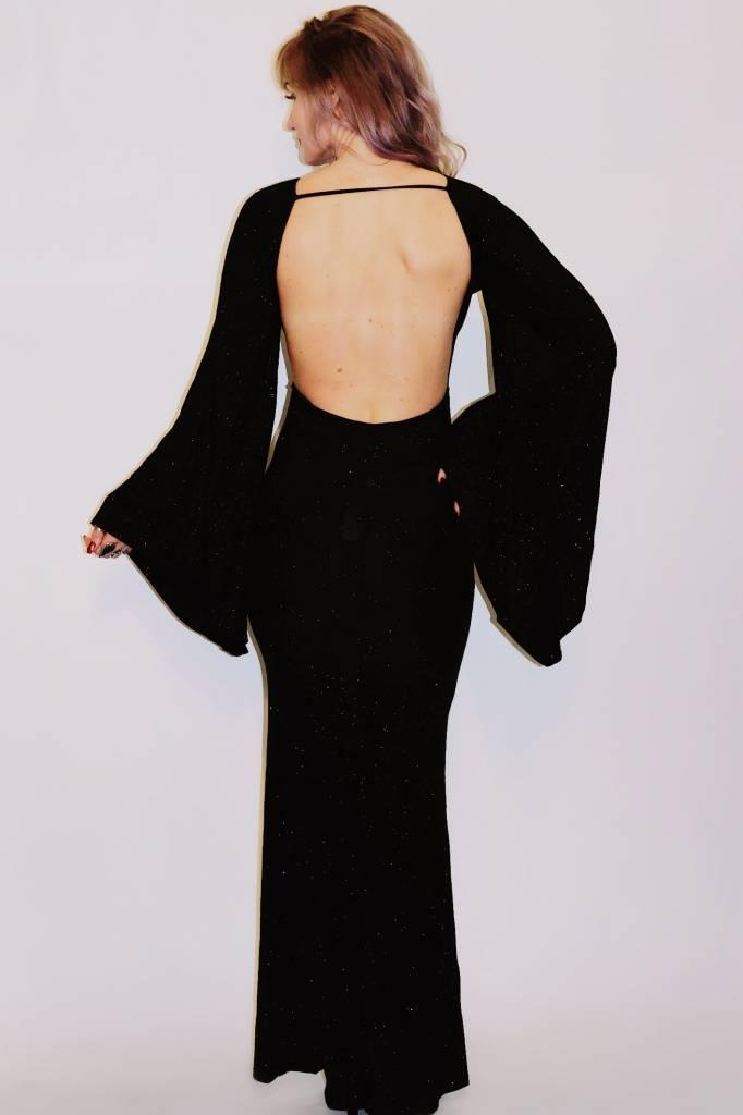 DA54 - Symphony -  Glitter Open Back w/Bell Sleeve Gown