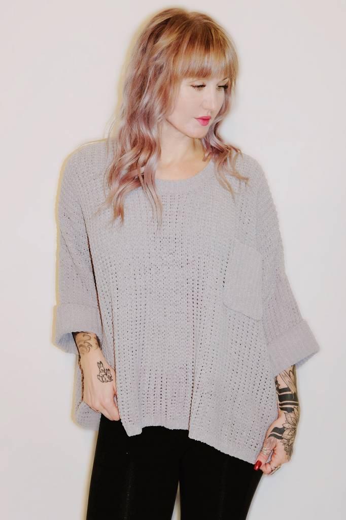 DA47 - POL- Over Size Sweater w/ Pocket