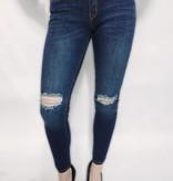 DA42 - Machine- Dark Denim Jeans w/Slit Knees