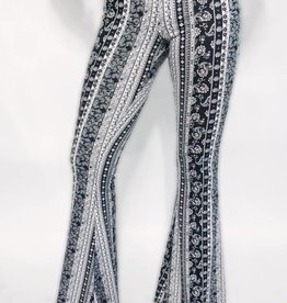 DA08 - Bear Dance - Paisley Blk/Wht Bell Bottoms