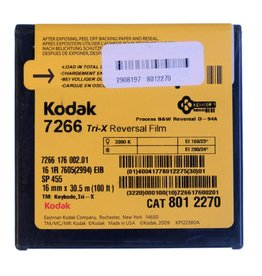 Kodak Kodak Tri-X 7266 black & white reversal film for 16mm. 100 foot roll.