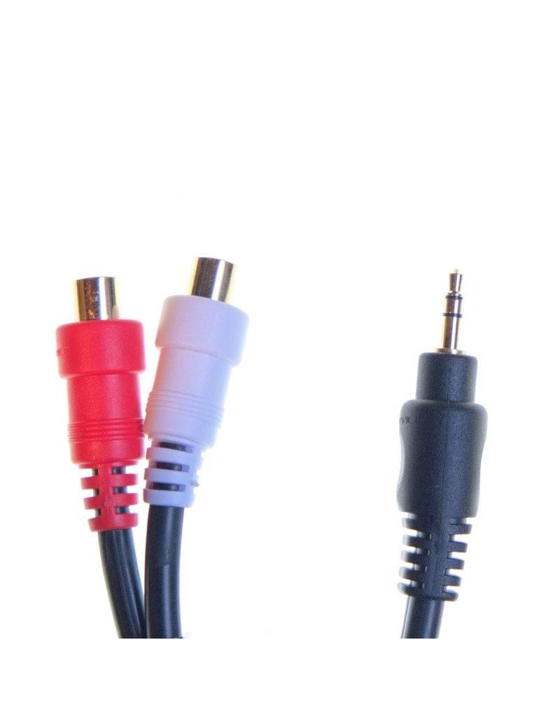 """RENTAL 1/8"""" miniplug (M) to stereo RCA (F) adapter rental."""