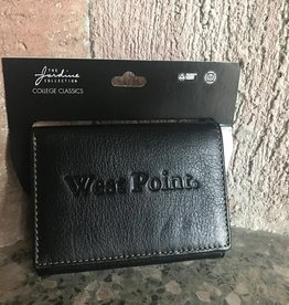 Leather Contrast Stitch Trifold Wallet-Black