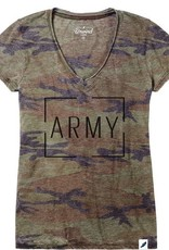 Women's Distressed V-Tee in Army Camo