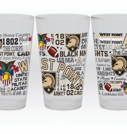 Frosted Pint Glass with All Over Post Map (16 ounce)