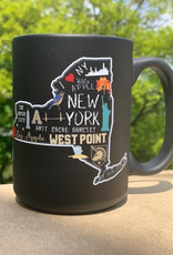 Chalkboard NY State Matte Black Mug, 15 ounce