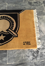 Graduation Year/Large Black/Gold West Point Hand Knotted Carpet, 2.5 x 4 feet