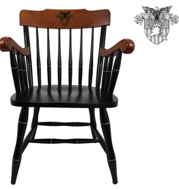 West Point Captains Chair: Black with Cherry Arms and Crown
