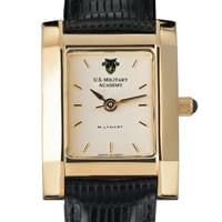 West Point Women's Gold Quad Watch with Leather Strap