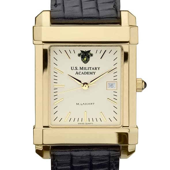 West Point Men's Gold Quad Watch with Leather Strap