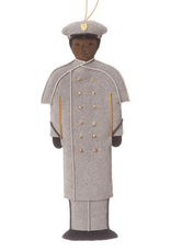 Male/African American/GRAY OVERCOAT/Cadet Ornament/(St. Nicholas)