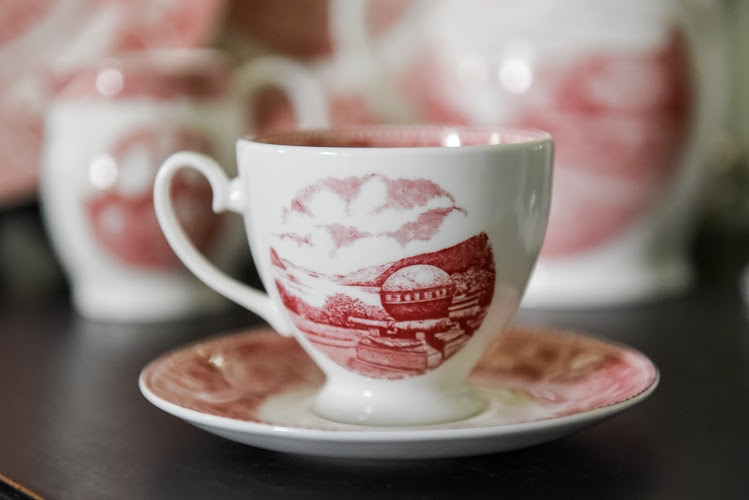 West Point China Cup and Saucer in Rose
