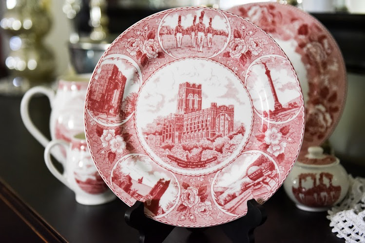 Cadet Chapel West Point China Dinner Plate in Rose
