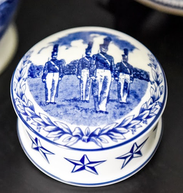 West Point China Cadet Trinket Box in Blue and White