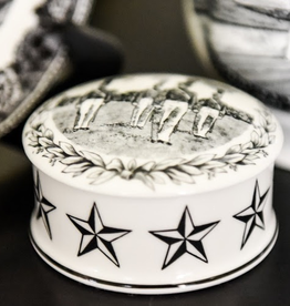 West Point China Cadet Trinket Box in Black and White