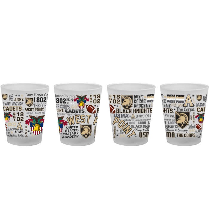 1.5oz Frosted Shot Glass with West Point logos