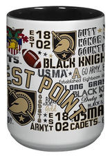 West Point All-Over Post/Map Wrap Mug, 15 ounce
