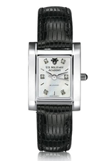 West Point Women's Steel Quad MOP Diamond Dial Watch with Leather (Special Order)
