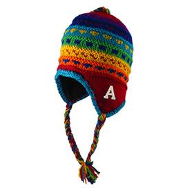Yak Multi Colored Fleece Ear Flapped Hat, with Tassels