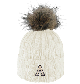 Alps Knit Cuff Hat with Faux Fur Pom