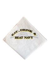 """""""Eat, Drink and Beat Navy"""" Napkins (30 per pack/Cocktail Size)"""