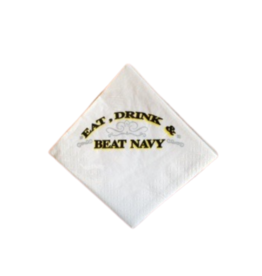 """Eat, Drink and Beat Navy"" Napkins (30 per pack/Cocktail Size)"