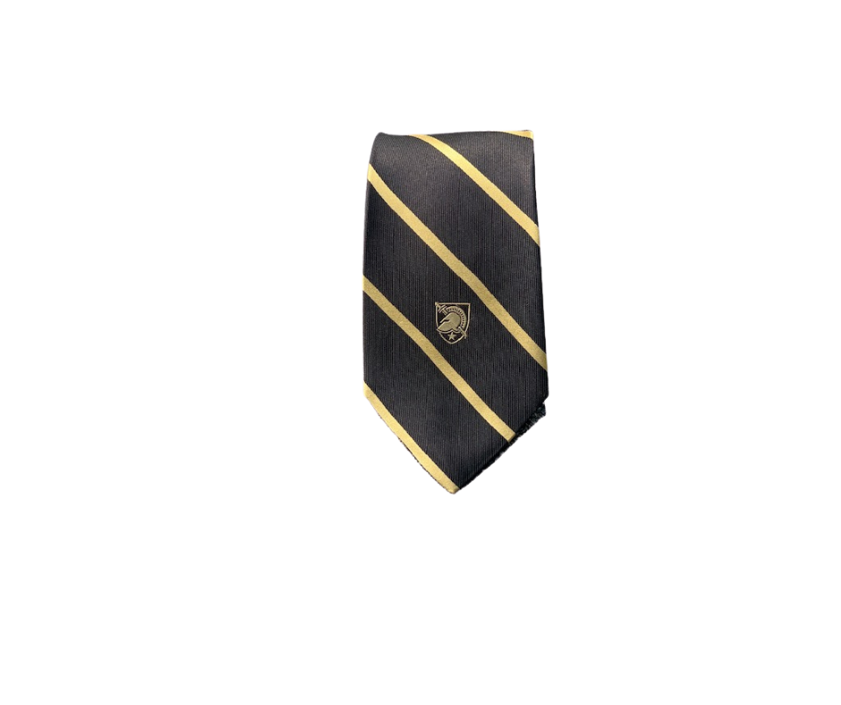 Custom West Point Tie (Black with Gold Stripe/Athletic Shield/Silk)