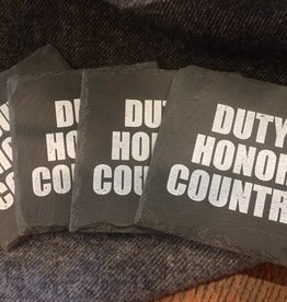 Slate Coasters: Duty, Honor, Country (Set of Four)