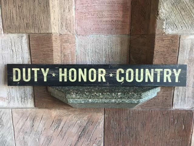 """Duty, Honor, Country"" Doorway Plank Sign"