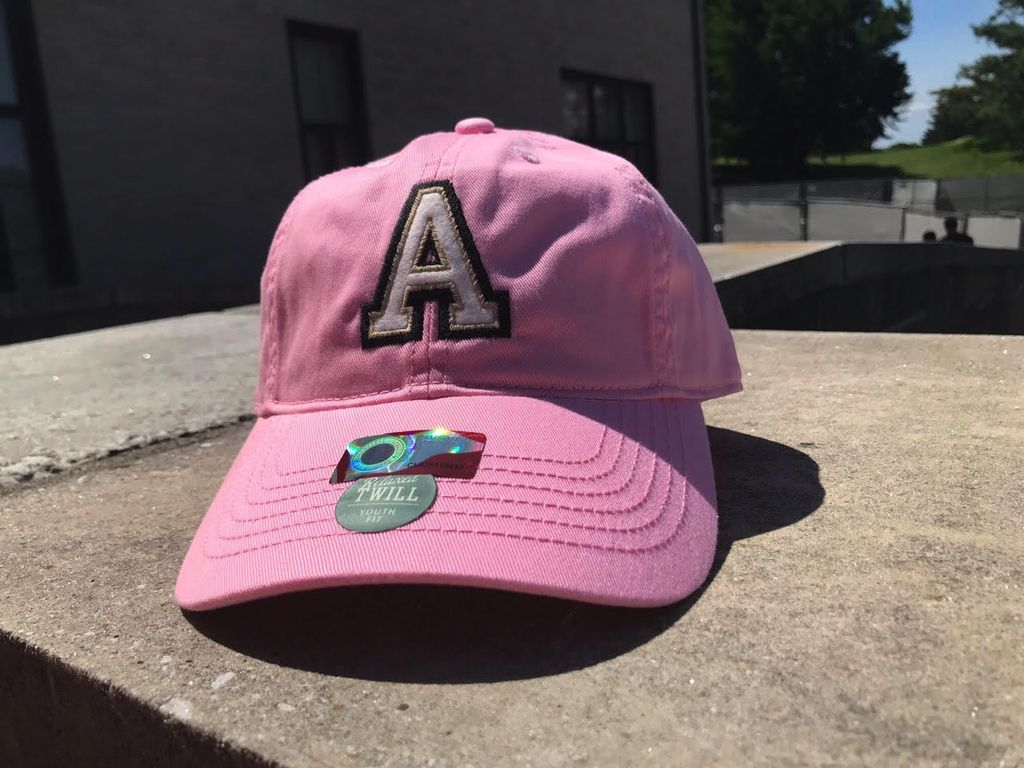 "Youth Baseball Cap/Block ""A"" (Pink Oxford)"