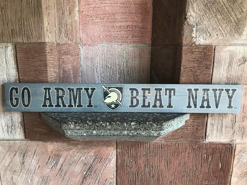 """""""Go Army Beat Navy"""" Doorway Plank Sign, 4 x 36 inches"""