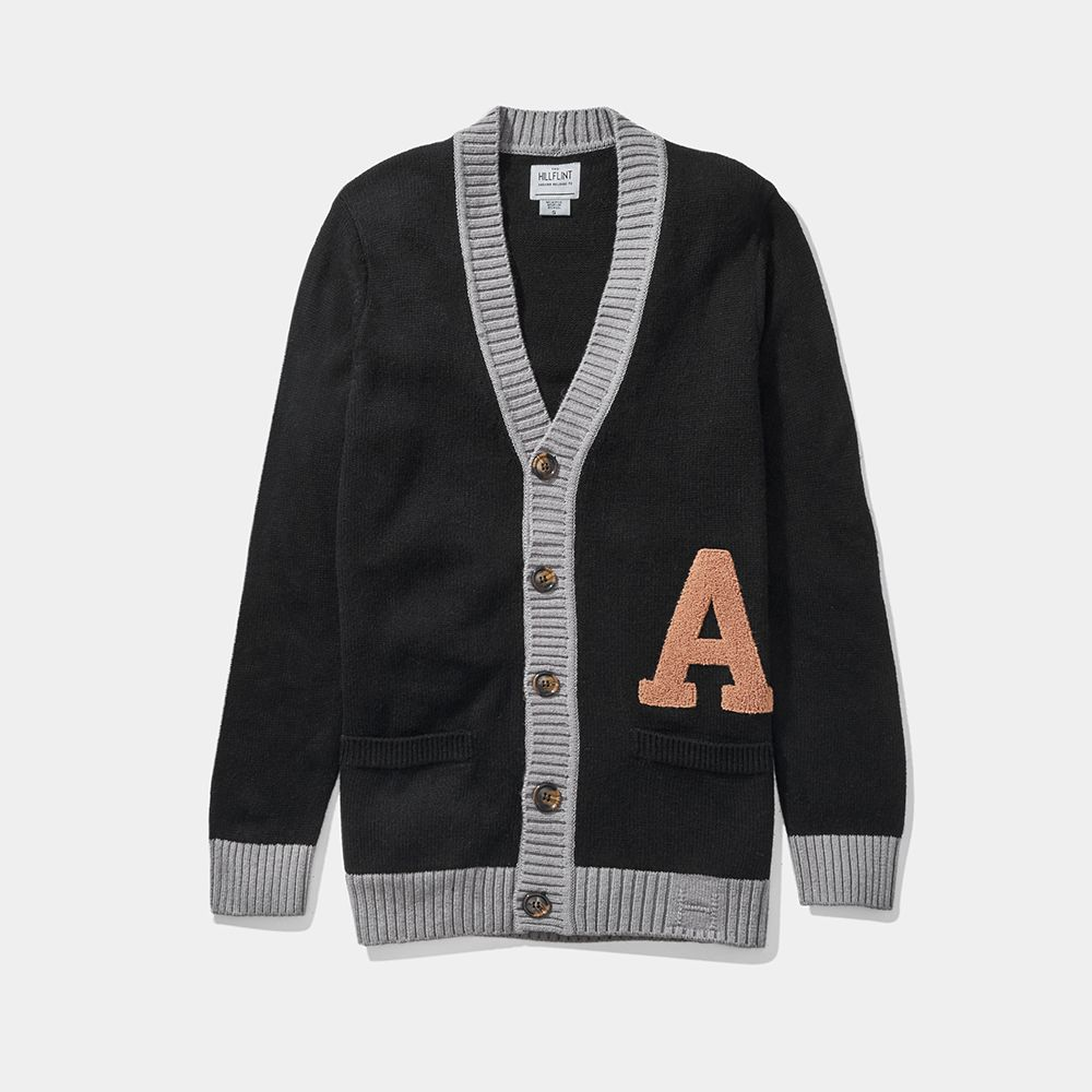 Wool Blend Letter Cardigan Sweater (Hillflint)