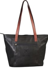 Harper Canyon Leather Tote (Black) (Drop Ship)