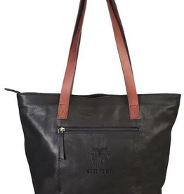 Harper Canyon Leather Tote (Black) (Drop Ship)