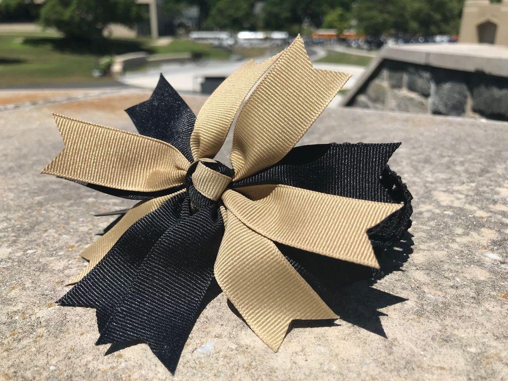 Pinwheel Bow on Crochet Headband (Miss Ashley Originals)