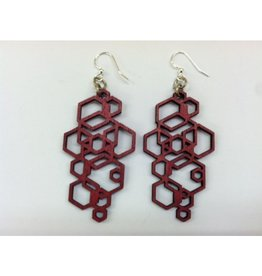 JEWE Hex Cluster Earrings - Red