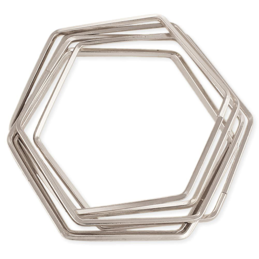 JEWE Interlocking Hexagon Bangle Bracelets