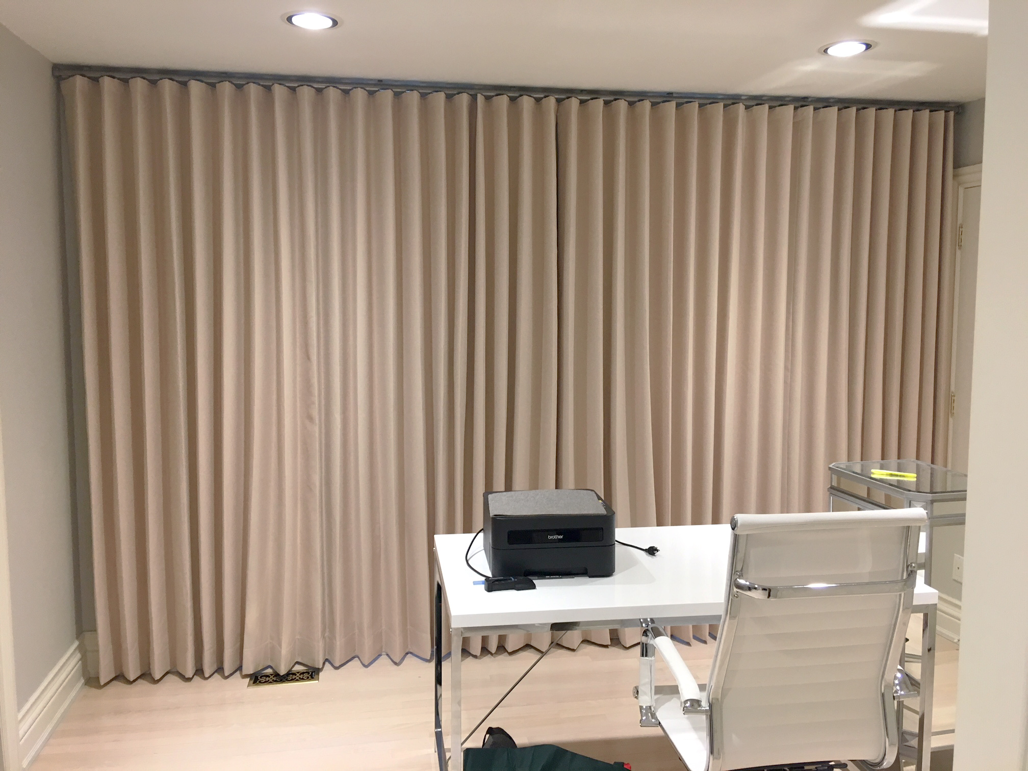 Office Modern Wave Drapes Closed