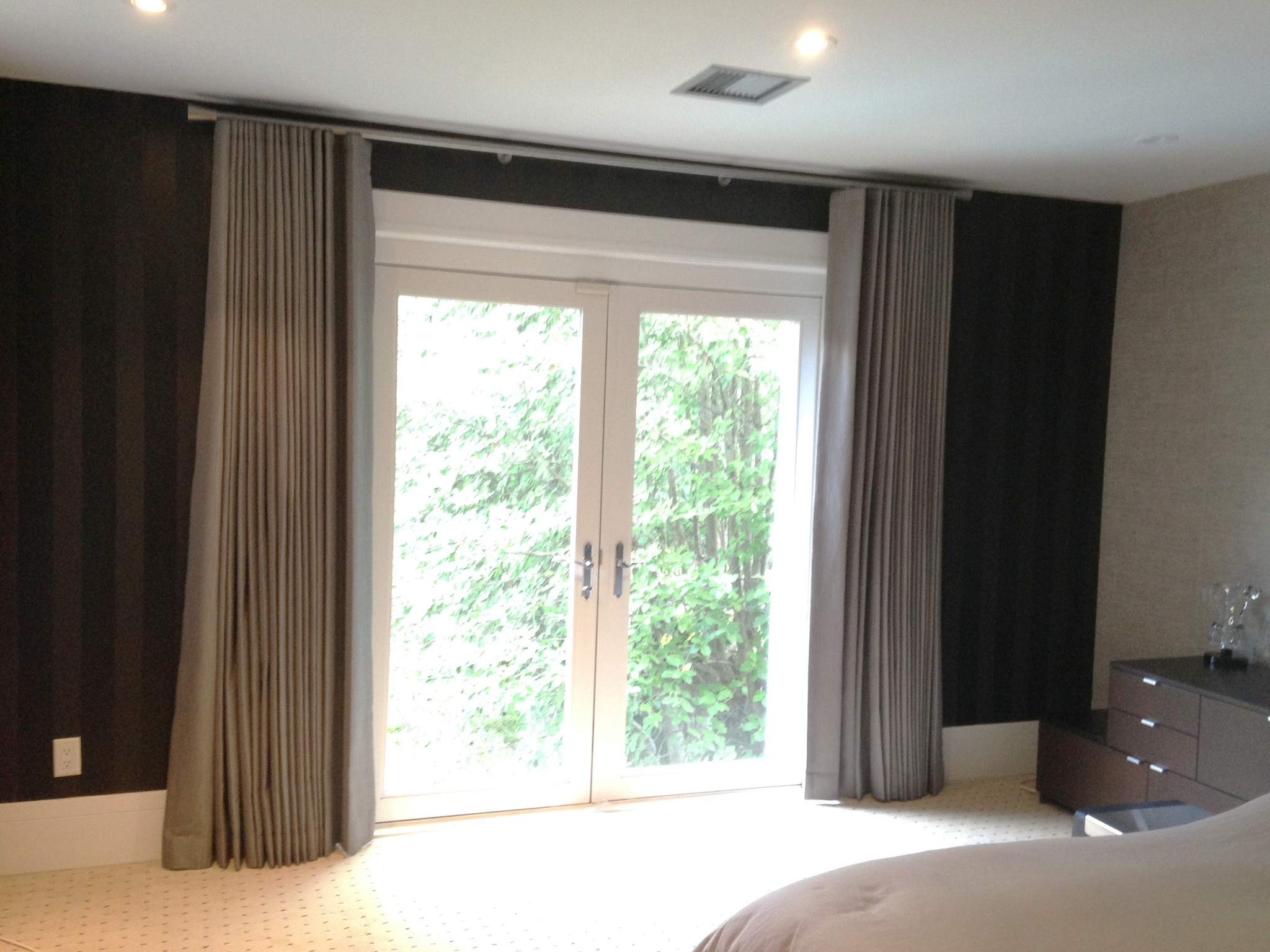 Master Bedroom Modern Wave Drapes French Doors