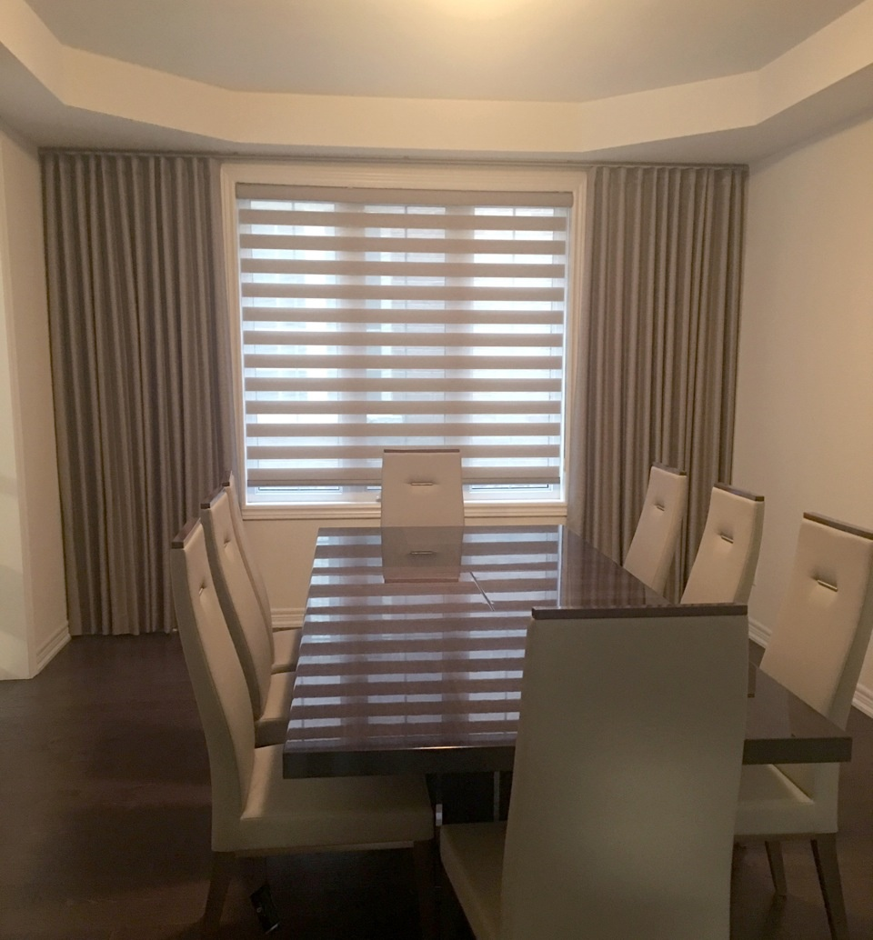 Fixed Side Panel Modern Wave Drapes with Combi Shades