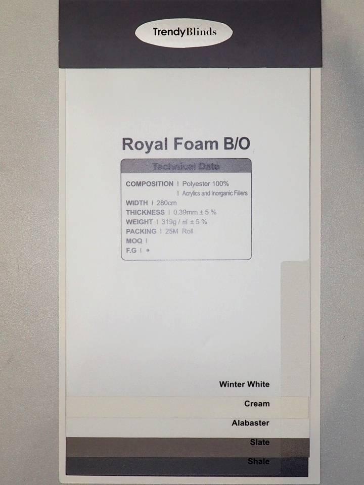 Trendy Blinds Royal Foam Blackout Roller