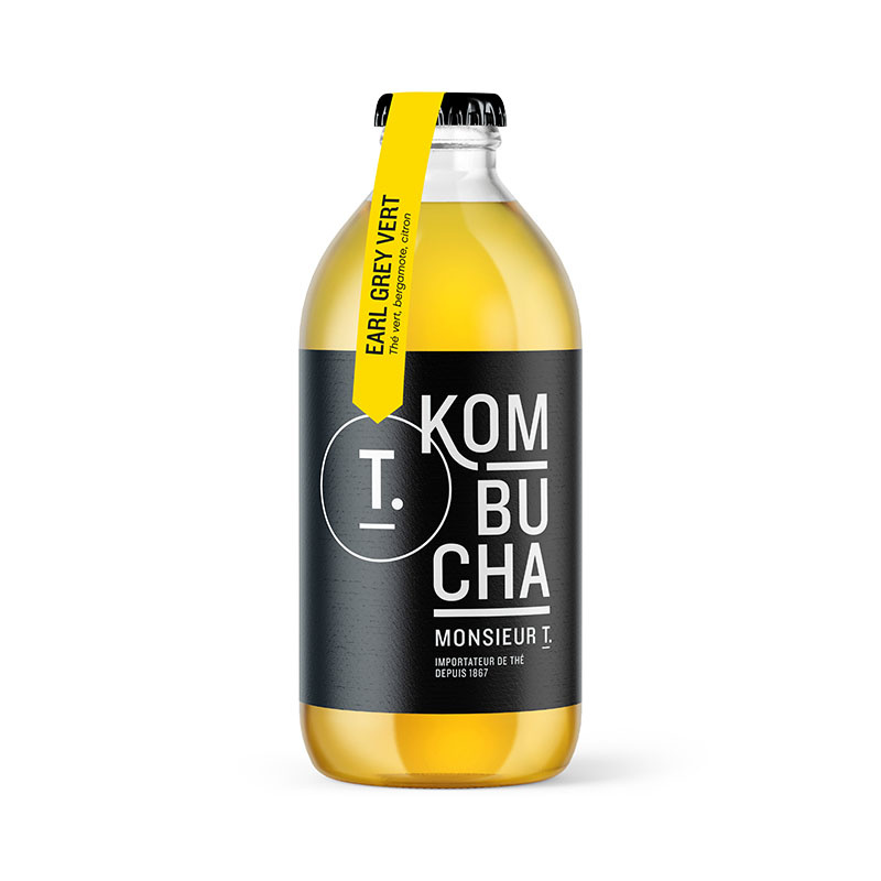 Green Earl Grey kombucha bottle 355ml