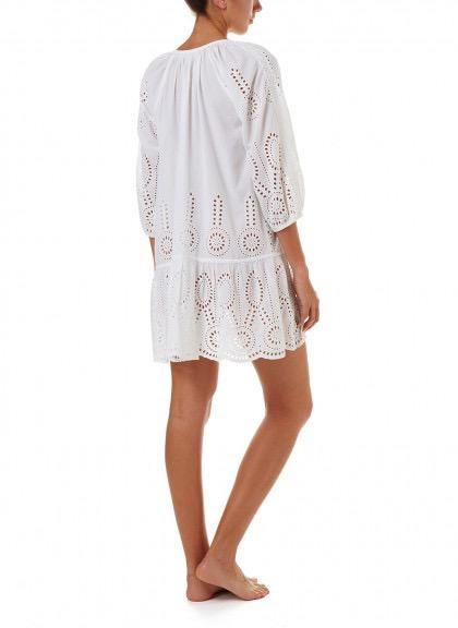 Melissa Odabash ASHLEY WHITE EMBROIDERED 3/4 SLEEVE SHORT COVER-UP