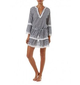 Melissa Odabash CLAUDIA NAVY PRINTED SHORT TASSLE DRESS