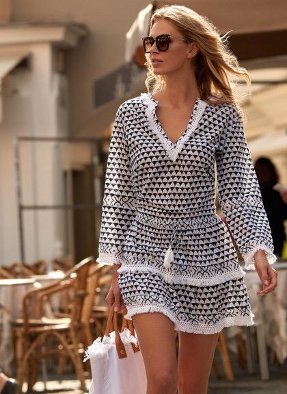 Melissa Odabash CLAUDIA NAVY PRINTED SHORT TASSLE DRESS